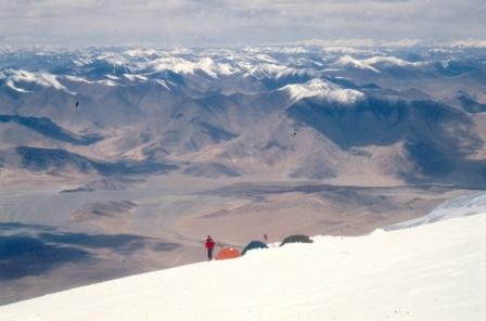 The Pamir panorama from the camp at the altitude of 6200m.