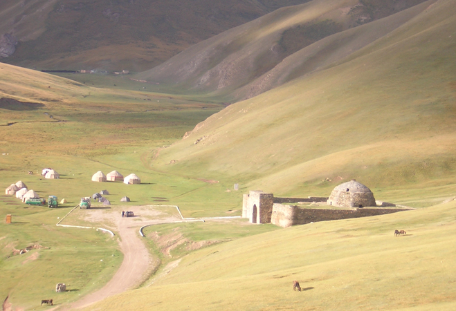The Panorama of Tash-Rabat Yurt Camps