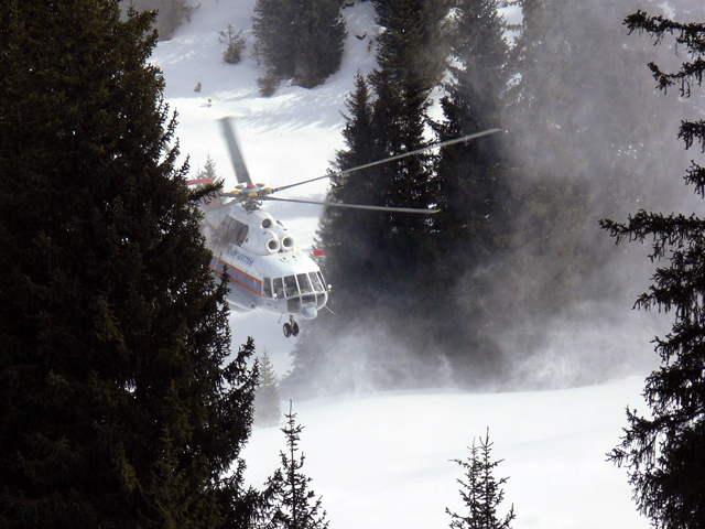 Helicopter during the Heliski program