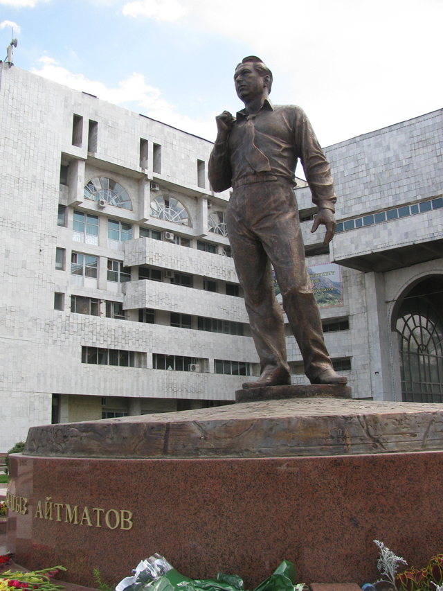 The monument for famous writer Chingiz Aitmatov in Bishkek city