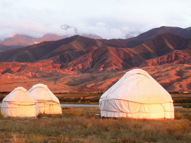 The yurt camp on the Issyk-Kul Lake shore