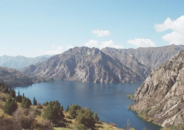 Sary-Chelek Lake located in Sary-Chelek Nature Reserve in Jalal-Abad Province in Western Kyrgyzstan