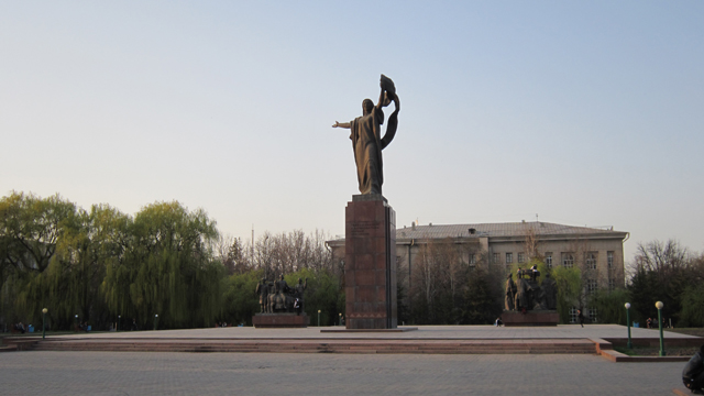 The revolution monument in the center of city