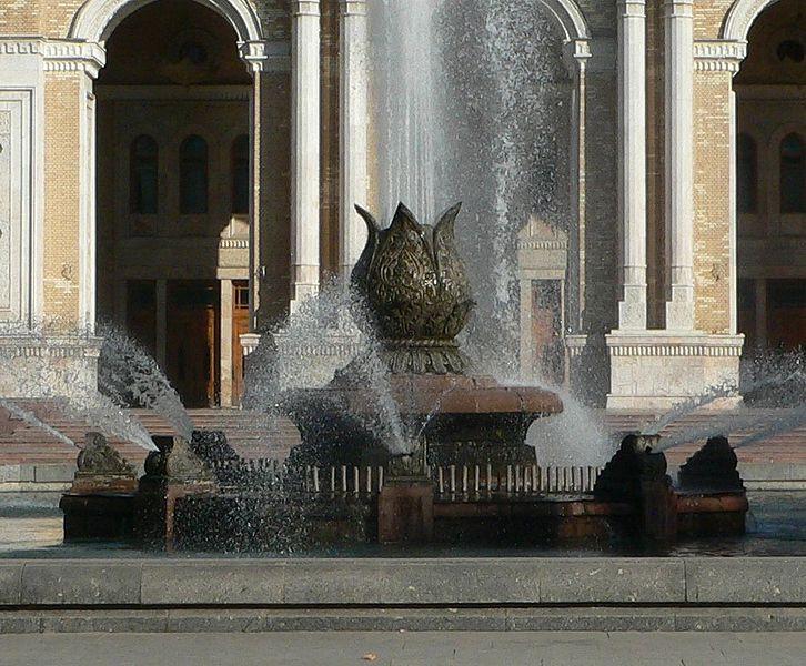 Fountain in front of theater Navoi in Tashkent, Uzbekistan